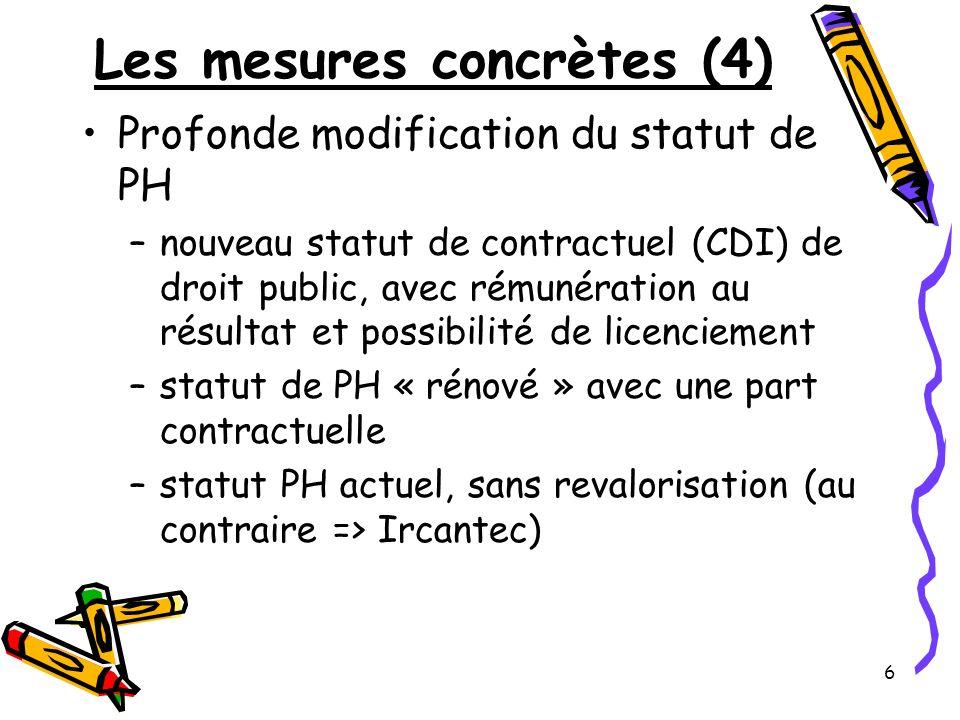 6 Les mesures concrètes (4) Profonde modification du statut de PH –nouveau statut de contractuel (CDI) de droit public, avec rémunération au résultat