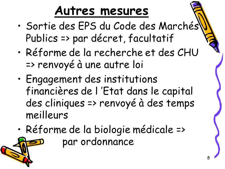 8 Autres mesures Sortie des EPS du Code des Marchés Publics => par décret, facultatif Réforme de la recherche et des CHU => renvoyé à une autre loi En
