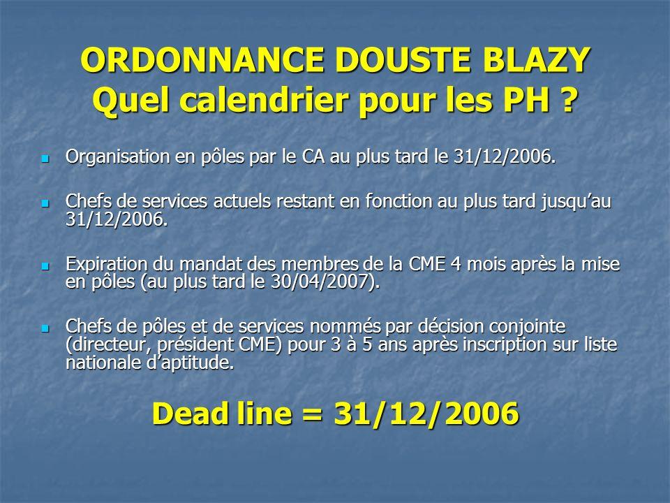 ORDONNANCE DOUSTE BLAZY Quel calendrier pour les PH .