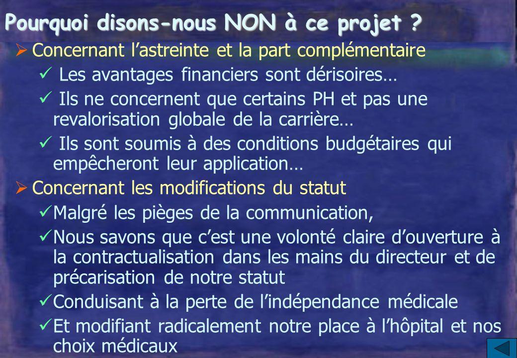 Protocole « statutaire » : 3 volets I – Reforme du régime des astreintes II – Introduction dune « part complémentaire » de rémunération III – Modernis