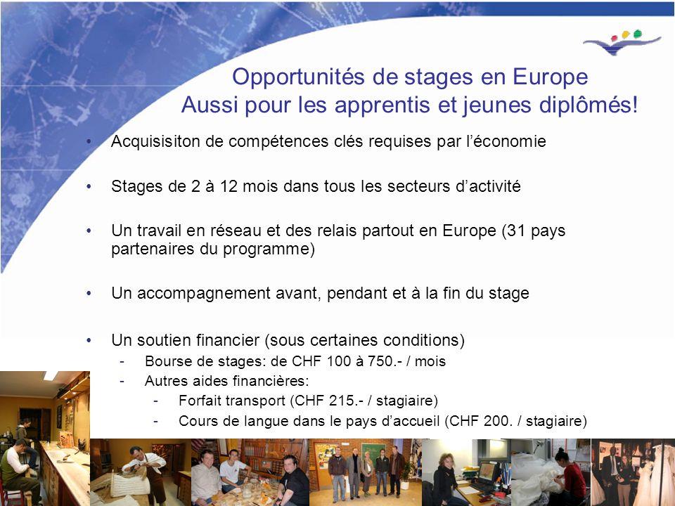 1 Opportunités de stages en Europe Aussi pour les apprentis et jeunes diplômés.