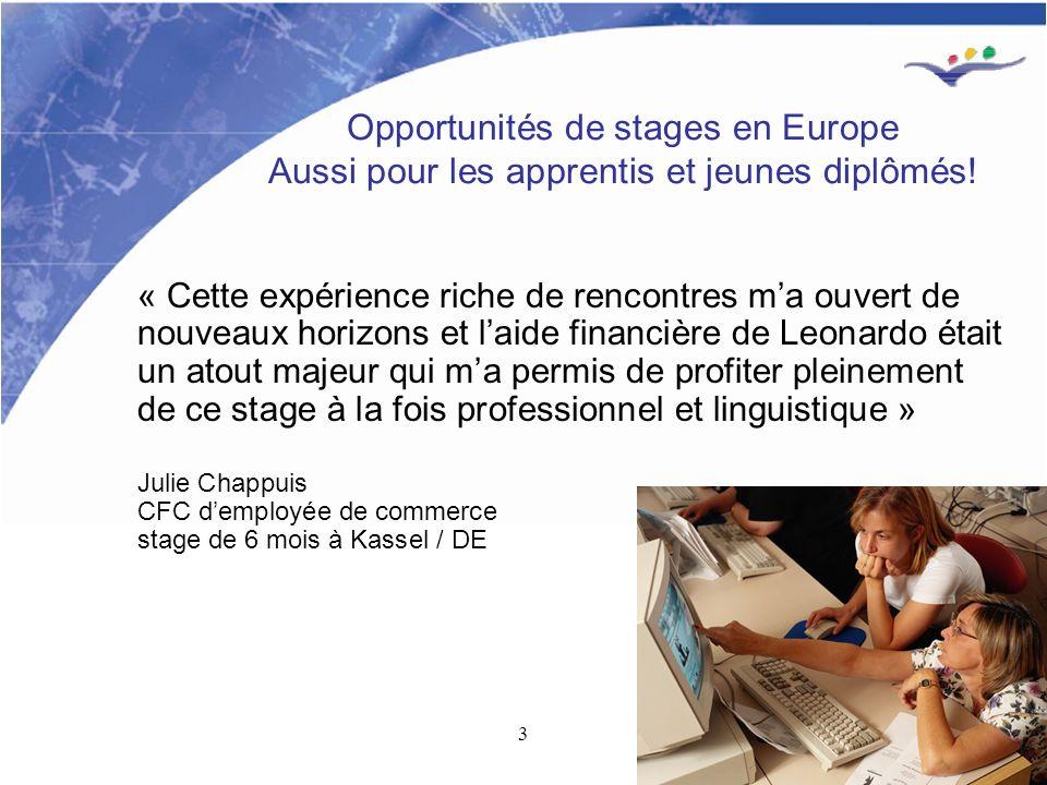 3 Opportunités de stages en Europe Aussi pour les apprentis et jeunes diplômés.