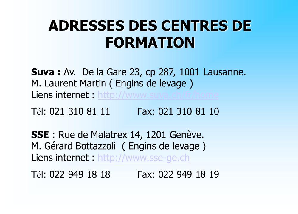 ADRESSES DES CENTRES DE FORMATION Suva : Av. De la Gare 23, cp 287, 1001 Lausanne. M. Laurent Martin ( Engins de levage ) Liens internet : http://www.