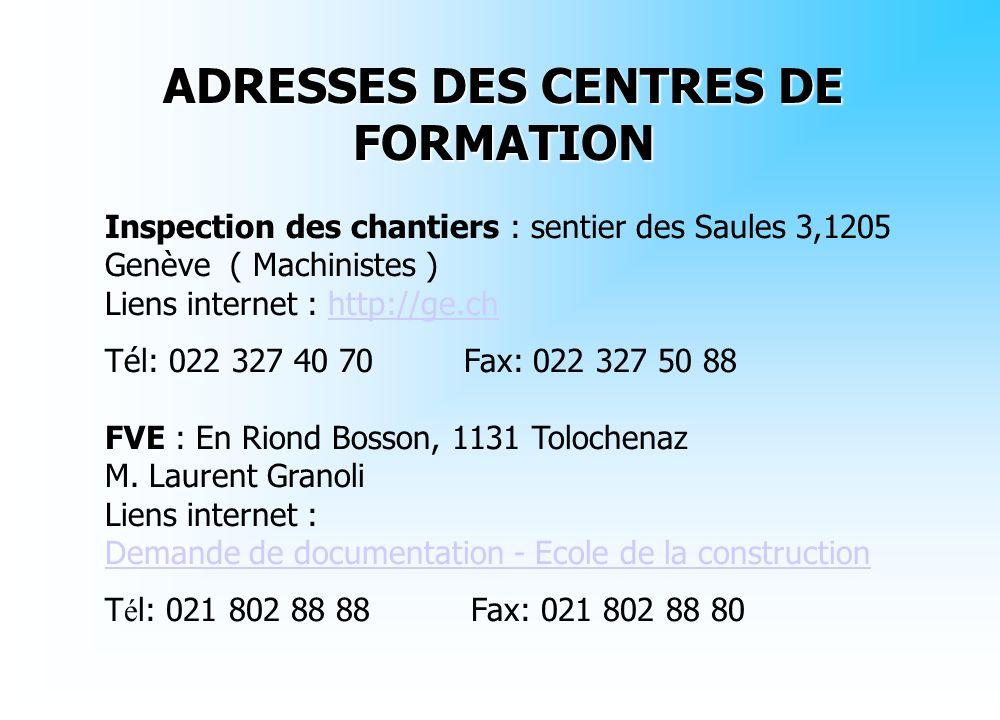 ADRESSES DES CENTRES DE FORMATION Inspection des chantiers : sentier des Saules 3,1205 Genève ( Machinistes ) Liens internet : http://ge.chhttp://ge.c