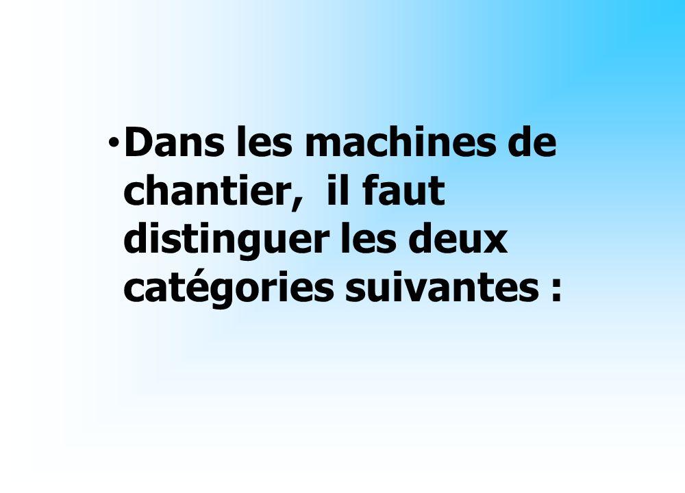 Dans les machines de chantier, il faut distinguer les deux catégories suivantes :