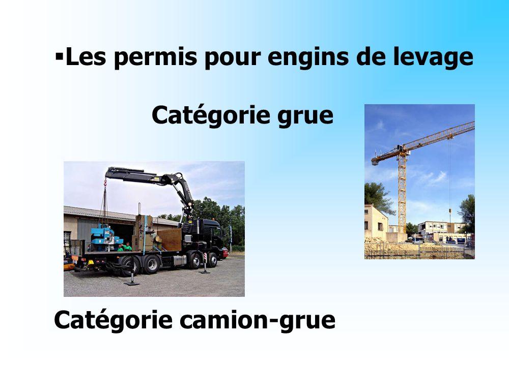 Les permis pour engins de levage Catégorie grue Catégorie camion-grue