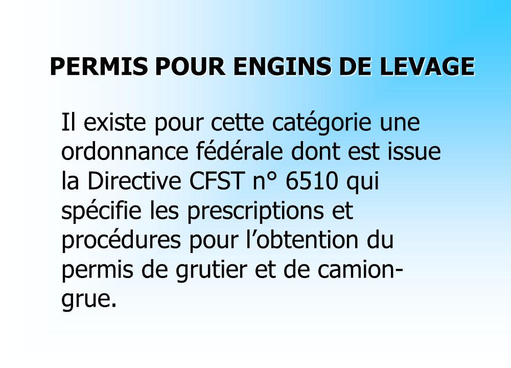 Il existe pour cette catégorie une ordonnance fédérale dont est issue la Directive CFST n° 6510 qui spécifie les prescriptions et procédures pour lobt