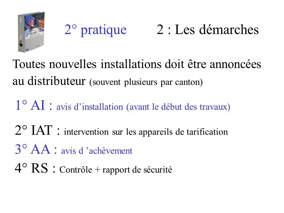 2° pratique2 : Les démarches Toutes nouvelles installations doit être annoncées au distributeur (souvent plusieurs par canton) 1° AI : avis dinstallat