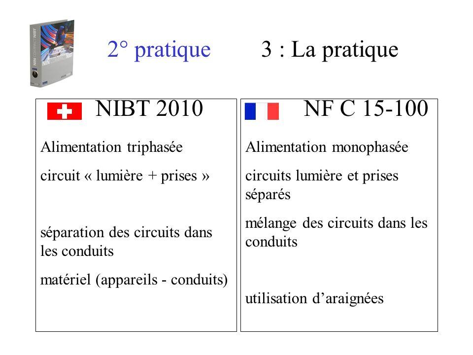 2° pratique3 : La pratique NIBT 2010 NF C 15-100 Alimentation monophasée circuits lumière et prises séparés mélange des circuits dans les conduits uti