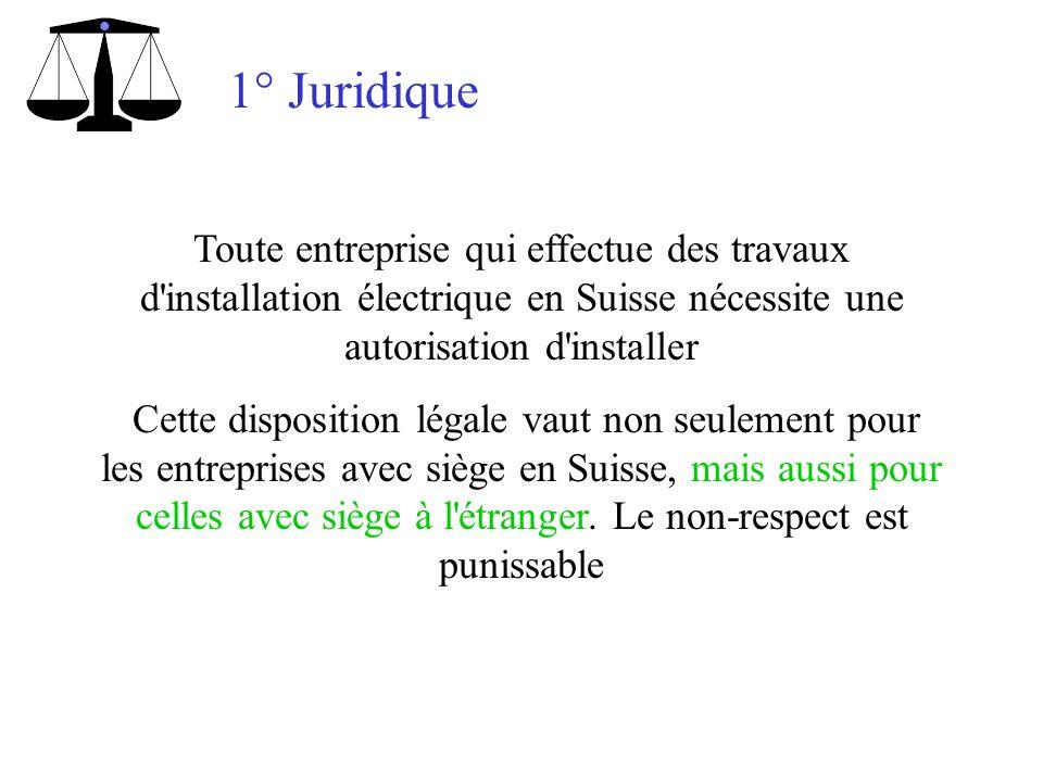 1° Juridique Toute entreprise qui effectue des travaux d'installation électrique en Suisse nécessite une autorisation d'installer Cette disposition lé