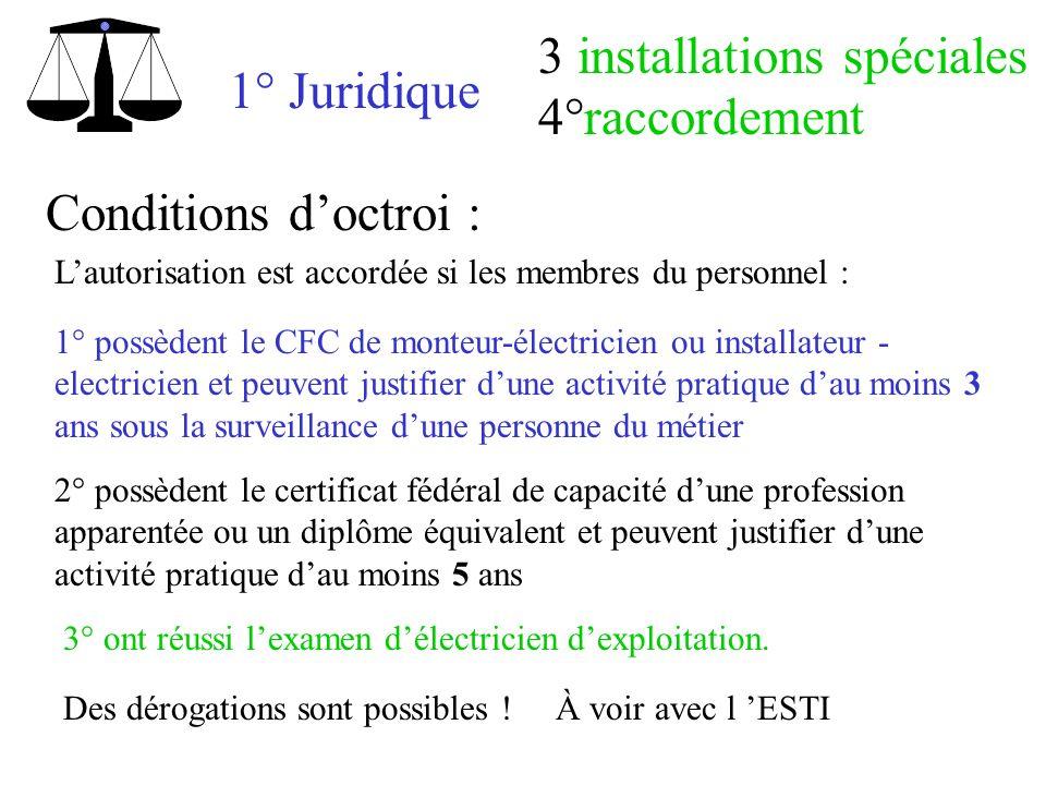 1° Juridique 3 installations spéciales 4°raccordement Conditions doctroi : Lautorisation est accordée si les membres du personnel : 1° possèdent le CF