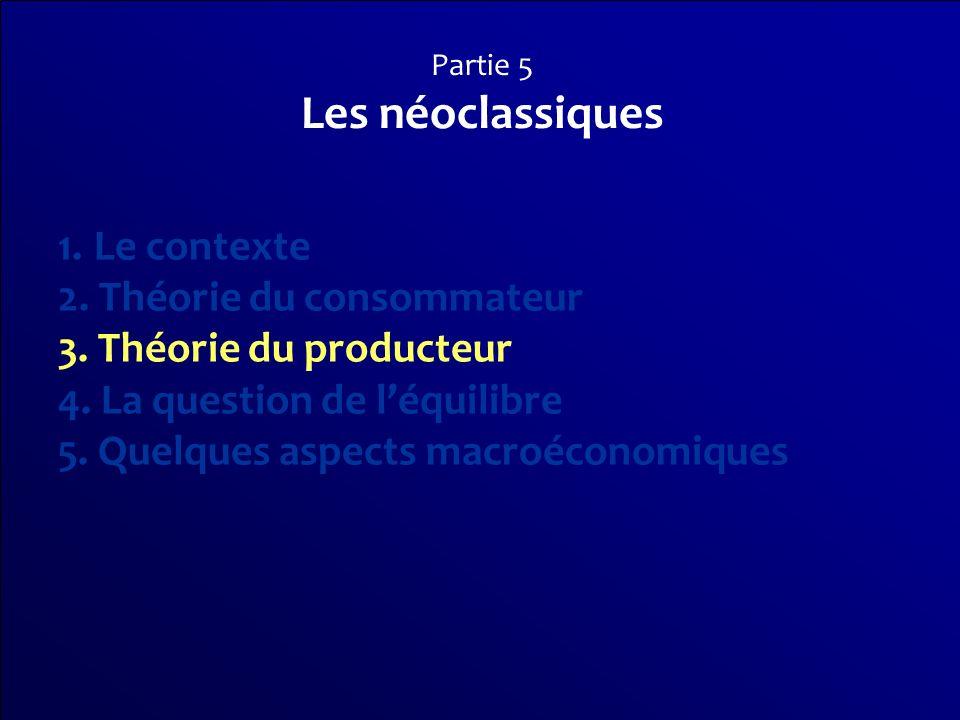 Partie 5 Les néoclassiques 1.Le contexte 2. Théorie du consommateur 3. Théorie du producteur 4. La question de léquilibre 5. Quelques aspects macroéco