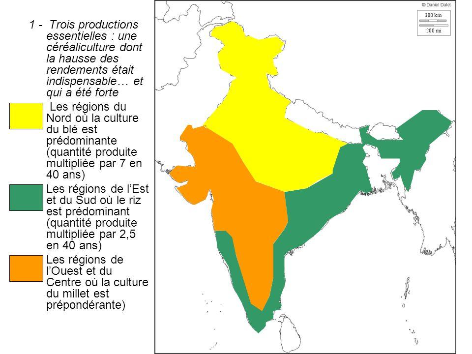 1 - Trois productions essentielles : une céréaliculture dont la hausse des rendements était indispensable… et qui a été forte Les régions du Nord où l