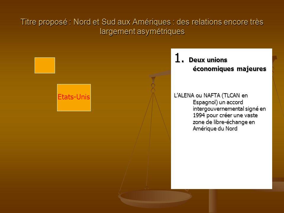 Titre proposé : Nord et Sud aux Amériques : des relations encore très largement asymétriques 1.