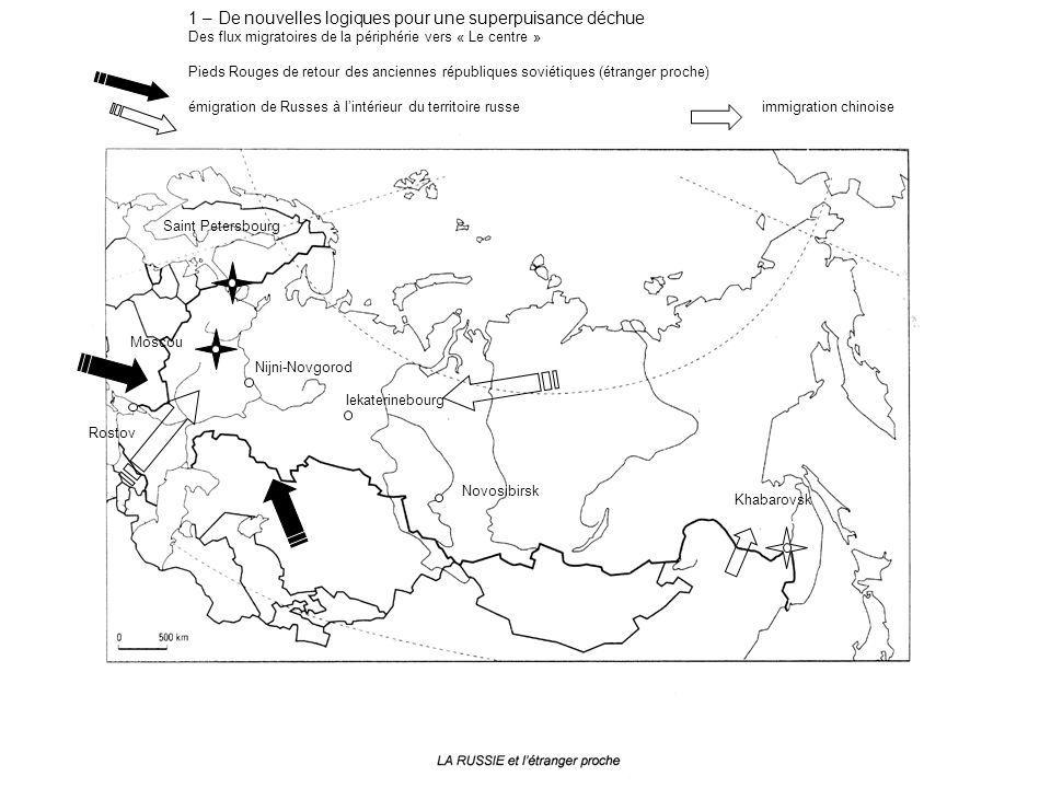 1 – De nouvelles logiques pour une superpuisance déchue Des flux migratoires de la périphérie vers « Le centre » Pieds Rouges de retour des anciennes