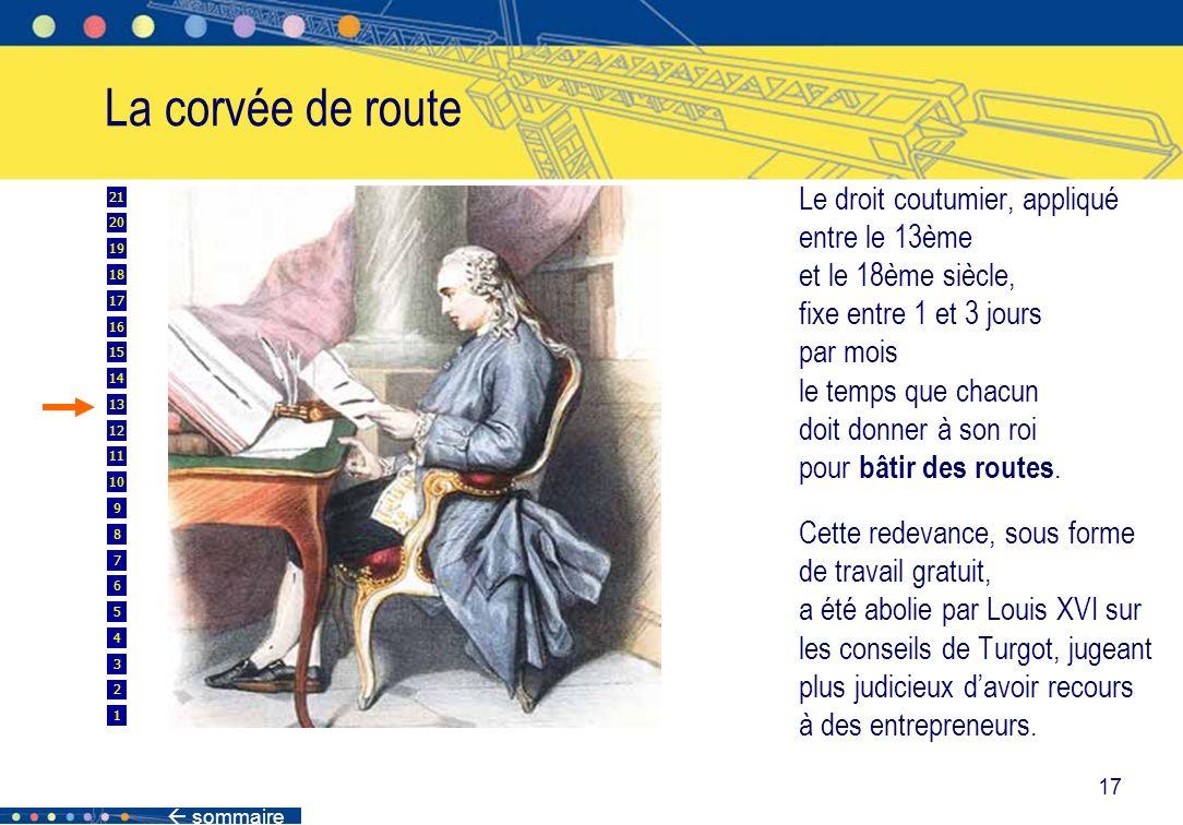 sommaire 17 La corvée de route Le droit coutumier, appliqué entre le 13ème et le 18ème siècle, fixe entre 1 et 3 jours par mois le temps que chacun do