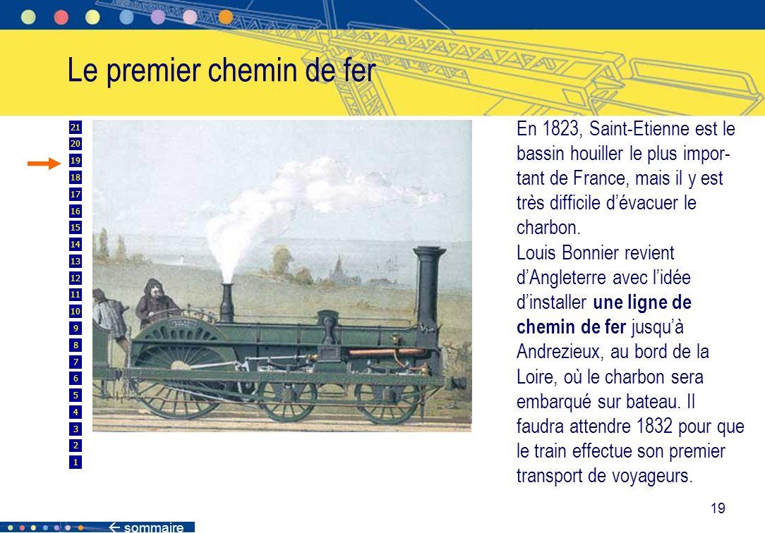 sommaire 19 Le premier chemin de fer En 1823, Saint-Etienne est le bassin houiller le plus impor- tant de France, mais il y est très difficile dévacue
