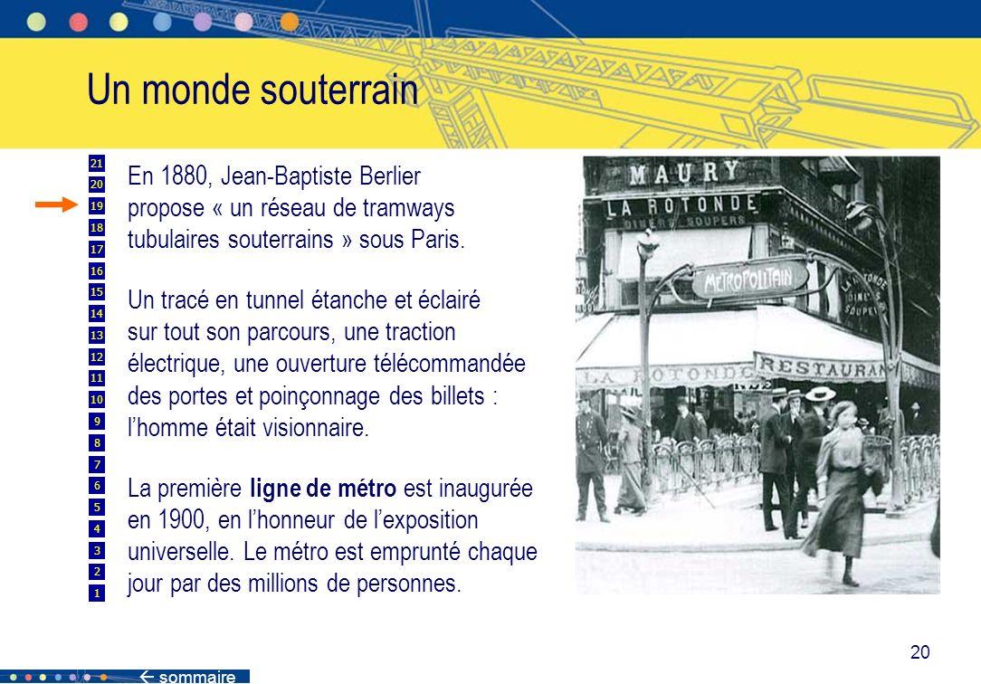 sommaire 20 Un monde souterrain En 1880, Jean-Baptiste Berlier propose « un réseau de tramways tubulaires souterrains » sous Paris. Un tracé en tunnel