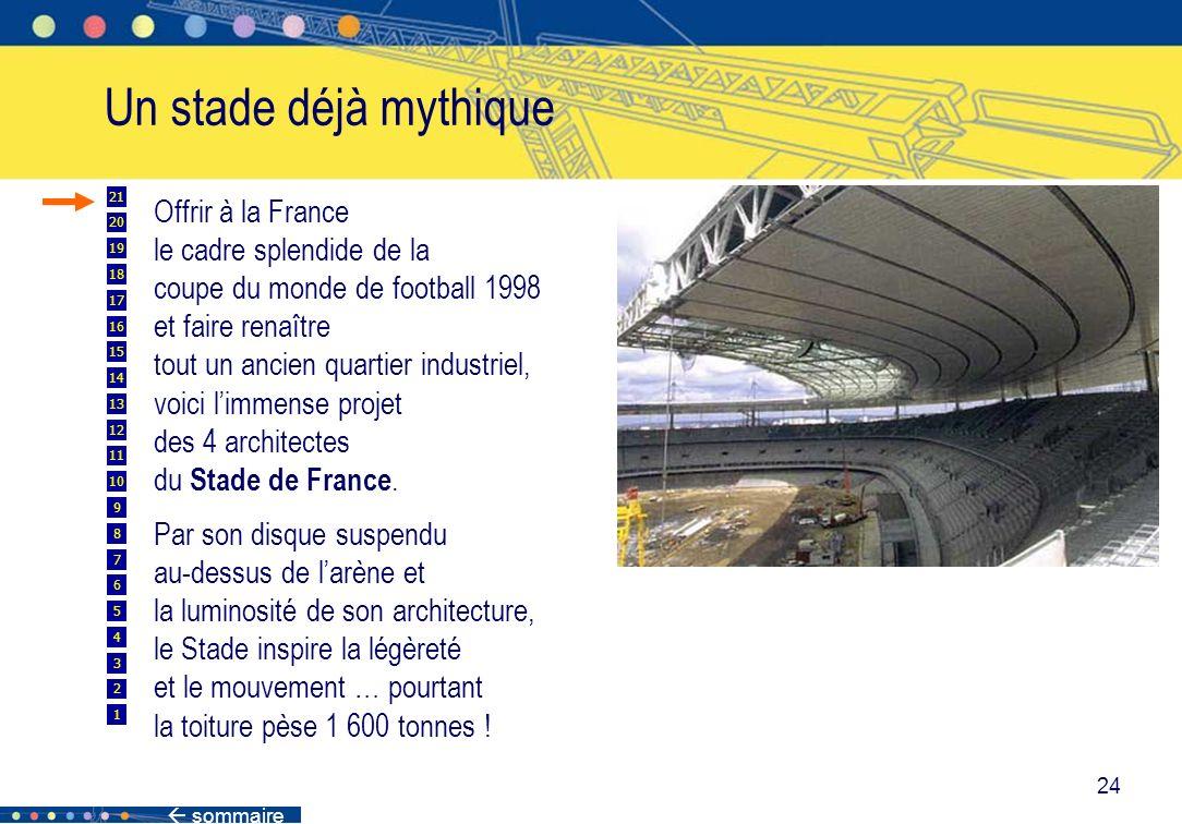 sommaire 24 Un stade déjà mythique Offrir à la France le cadre splendide de la coupe du monde de football 1998 et faire renaître tout un ancien quarti