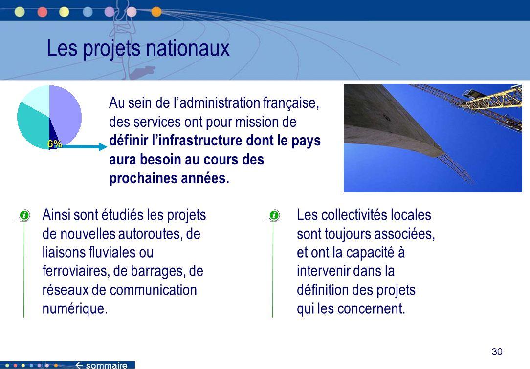 sommaire 30 Les projets nationaux Au sein de ladministration française, des services ont pour mission de définir linfrastructure dont le pays aura bes