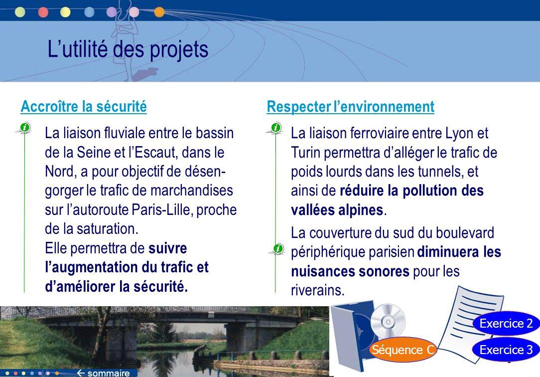 39 Séquence C Exercice 3 Exercice 2 Lutilité des projets Respecter lenvironnement La liaison ferroviaire entre Lyon et Turin permettra dalléger le tra