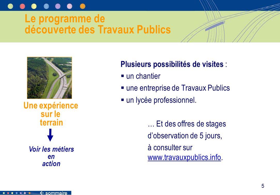 sommaire 5 Le programme de découverte des Travaux Publics Une expérience sur le terrain Voir les métiers en action Plusieurs possibilités de visites :