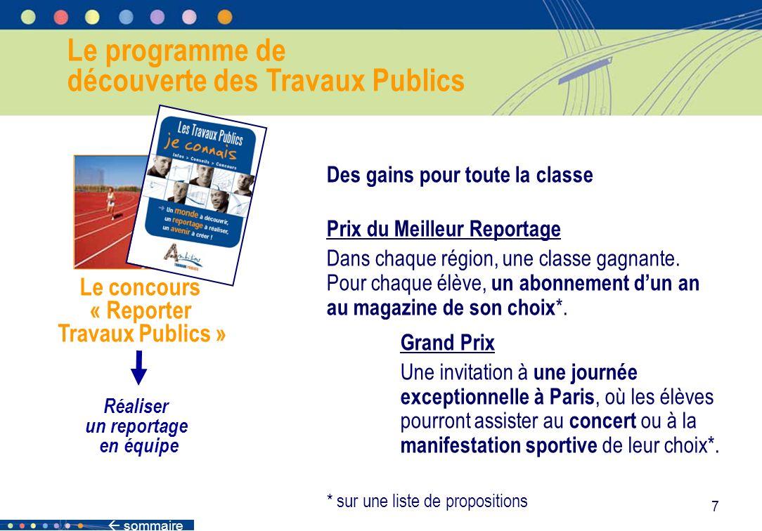 sommaire 7 Le programme de découverte des Travaux Publics Le concours « Reporter Travaux Publics » Réaliser un reportage en équipe Des gains pour tout