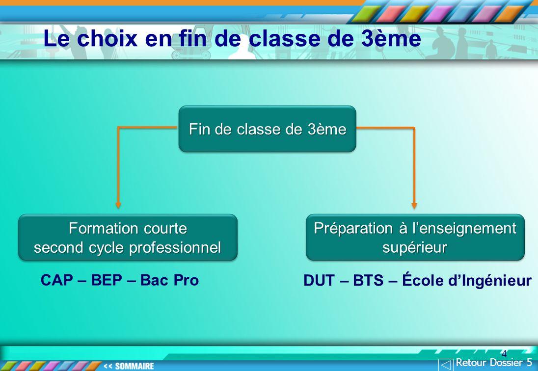 4 CAP – BEP – Bac Pro DUT – BTS – École dIngénieur Le choix en fin de classe de 3ème Fin de classe de 3ème Formation courte second cycle professionnel