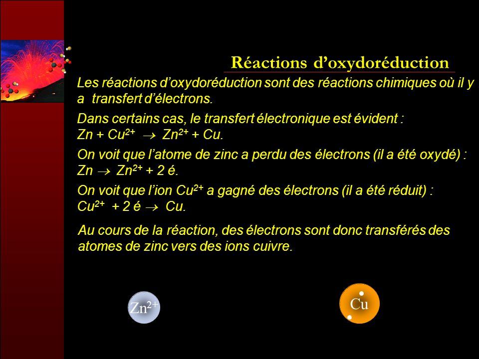 Réactions doxydoréduction Les réactions doxydoréduction sont des réactions chimiques où il y a transfert délectrons. Au cours de la réaction, des élec