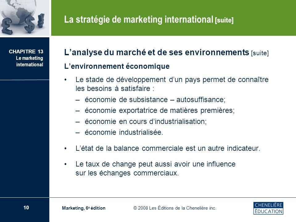 10 CHAPITRE 13 Le marketing international Marketing, 6 e édition © 2008 Les Éditions de la Chenelière inc. Lanalyse du marché et de ses environnements