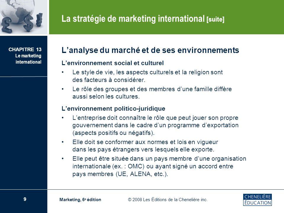 9 CHAPITRE 13 Le marketing international Marketing, 6 e édition © 2008 Les Éditions de la Chenelière inc. Lanalyse du marché et de ses environnements