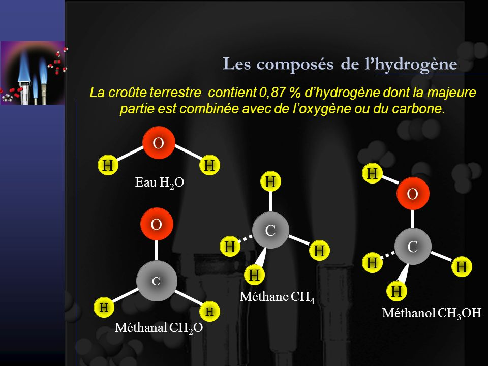 Les composés de lhydrogène La croûte terrestre contient 0,87 % dhydrogène dont la majeure partie est combinée avec de loxygène ou du carbone.