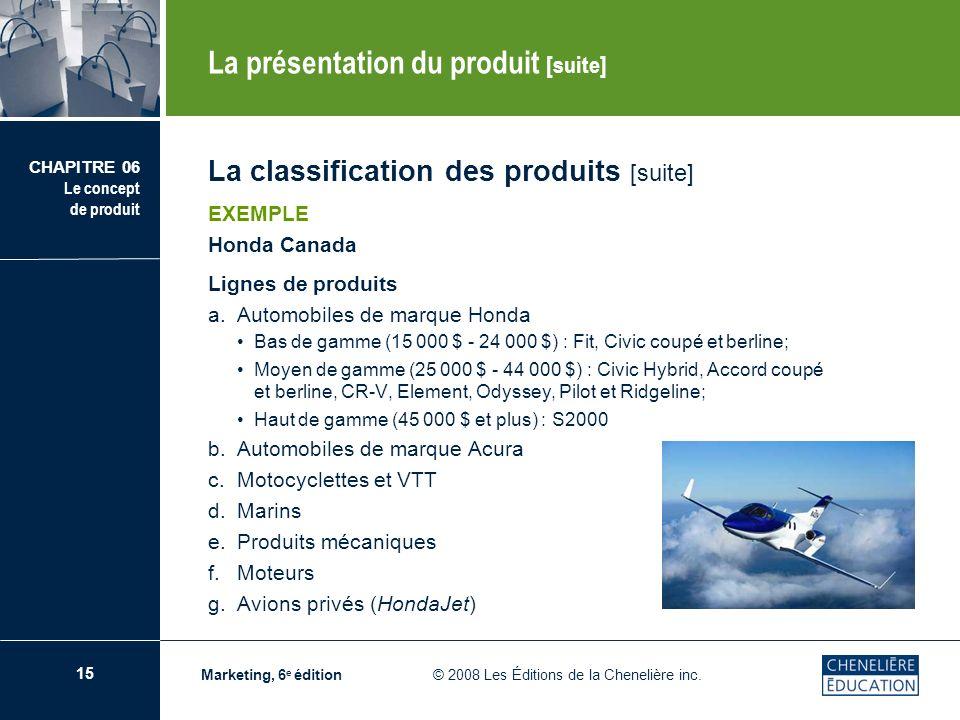 16 CHAPITRE 06 Le concept de produit Marketing, 6 e édition © 2008 Les Éditions de la Chenelière inc.