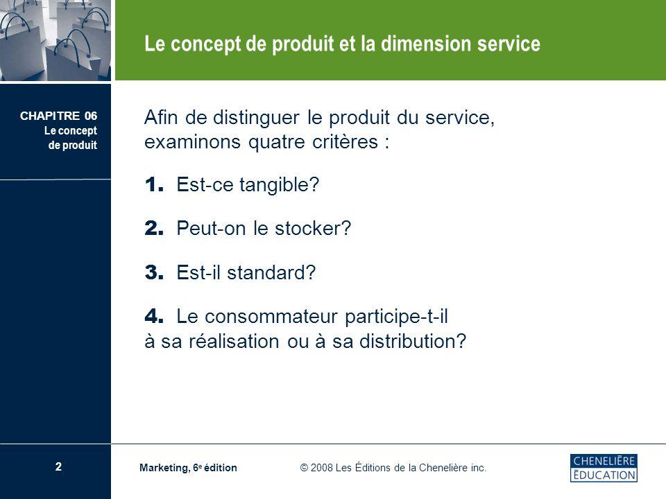 3 CHAPITRE 06 Le concept de produit Marketing, 6 e édition © 2008 Les Éditions de la Chenelière inc.