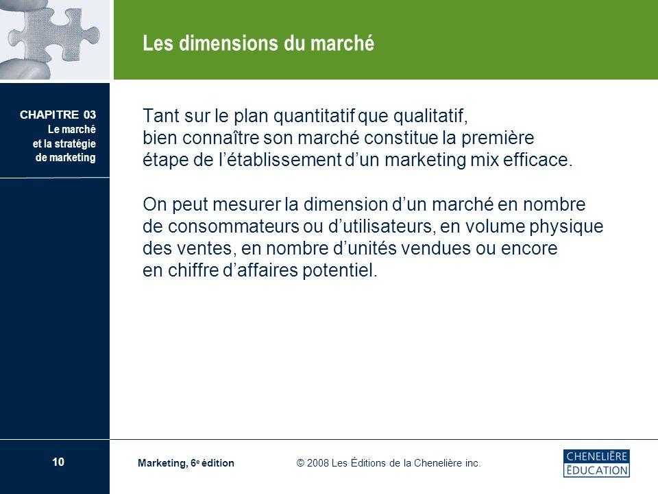 10 CHAPITRE 03 Le marché et la stratégie de marketing Marketing, 6 e édition © 2008 Les Éditions de la Chenelière inc. Tant sur le plan quantitatif qu