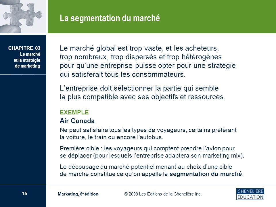 15 CHAPITRE 03 Le marché et la stratégie de marketing Marketing, 6 e édition © 2008 Les Éditions de la Chenelière inc. Le marché global est trop vaste