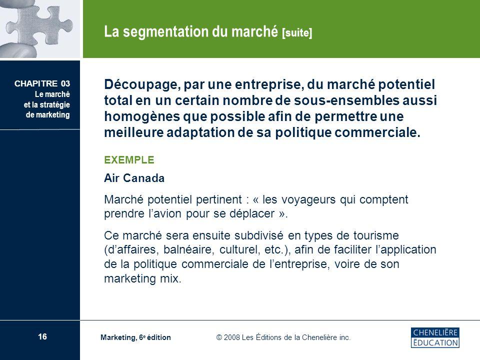 16 CHAPITRE 03 Le marché et la stratégie de marketing Marketing, 6 e édition © 2008 Les Éditions de la Chenelière inc. Découpage, par une entreprise,