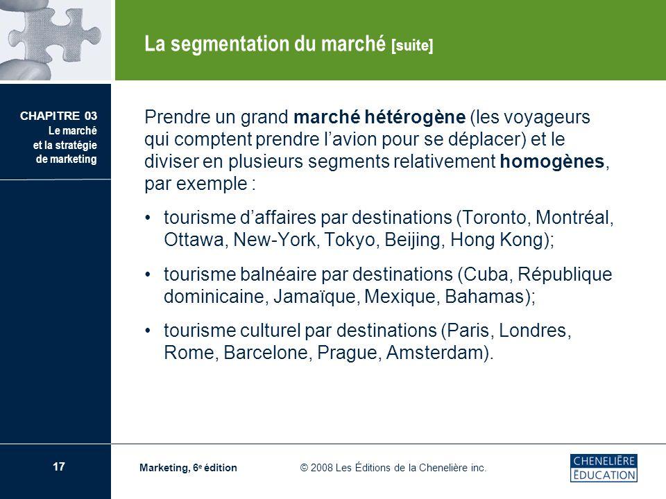 17 CHAPITRE 03 Le marché et la stratégie de marketing Marketing, 6 e édition © 2008 Les Éditions de la Chenelière inc. Prendre un grand marché hétérog