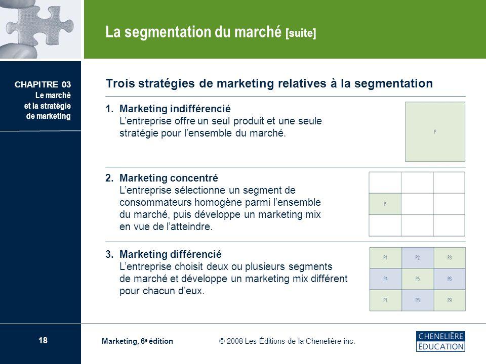 18 CHAPITRE 03 Le marché et la stratégie de marketing Marketing, 6 e édition © 2008 Les Éditions de la Chenelière inc. Trois stratégies de marketing r