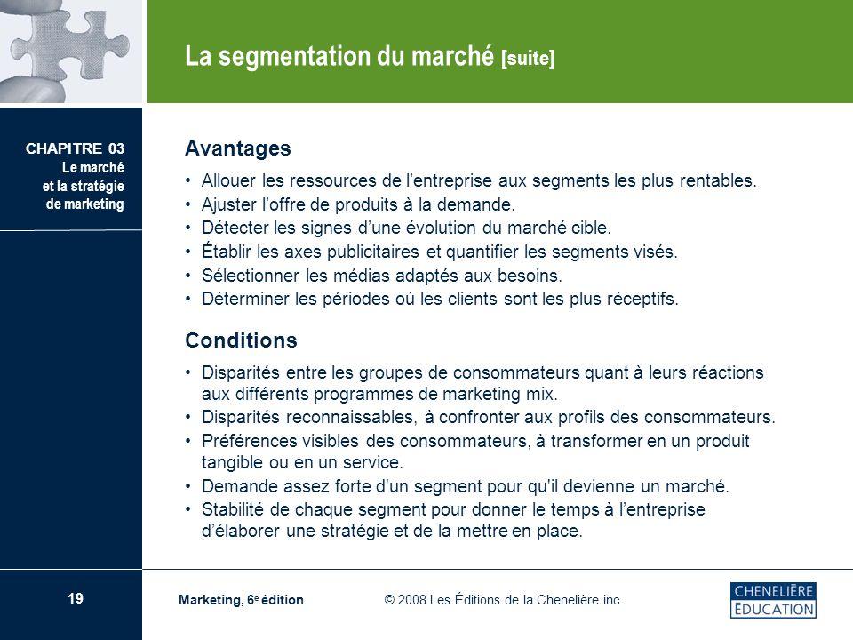 19 CHAPITRE 03 Le marché et la stratégie de marketing Marketing, 6 e édition © 2008 Les Éditions de la Chenelière inc. Avantages Allouer les ressource