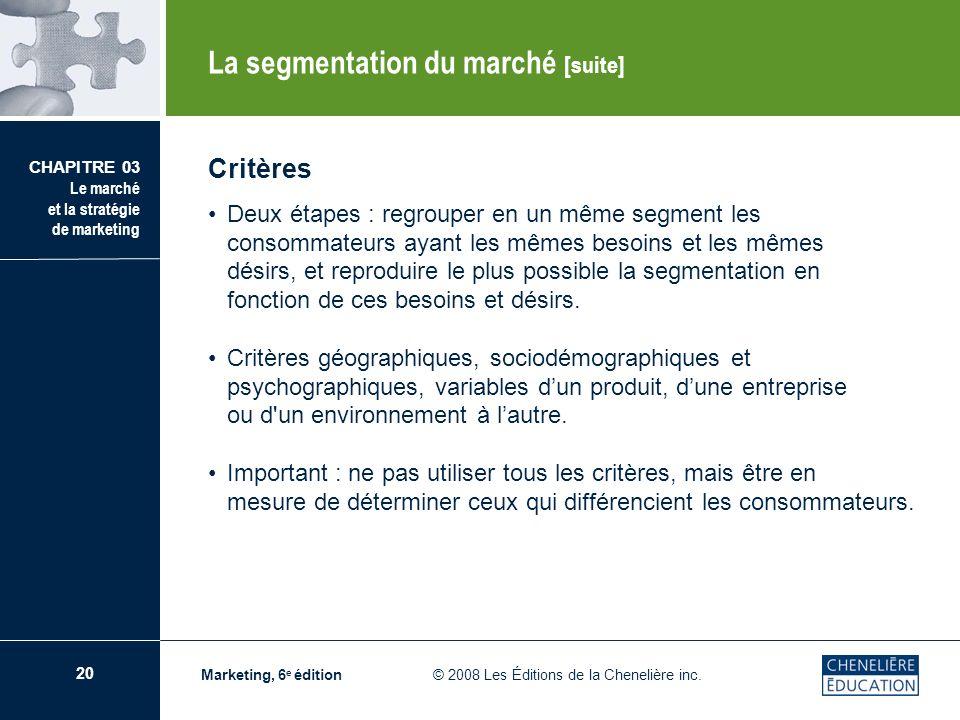 20 CHAPITRE 03 Le marché et la stratégie de marketing Marketing, 6 e édition © 2008 Les Éditions de la Chenelière inc. Critères Deux étapes : regroupe