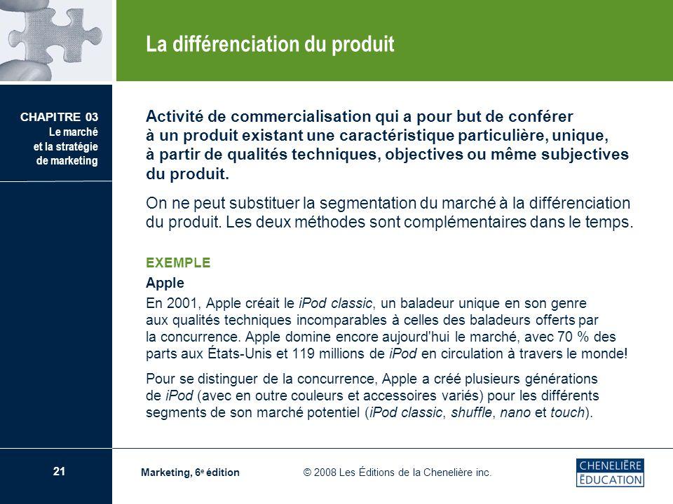 21 CHAPITRE 03 Le marché et la stratégie de marketing Marketing, 6 e édition © 2008 Les Éditions de la Chenelière inc. Activité de commercialisation q