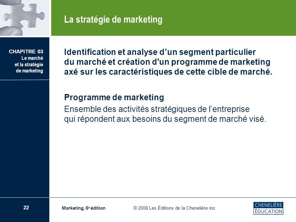 22 CHAPITRE 03 Le marché et la stratégie de marketing Marketing, 6 e édition © 2008 Les Éditions de la Chenelière inc. Identification et analyse dun s