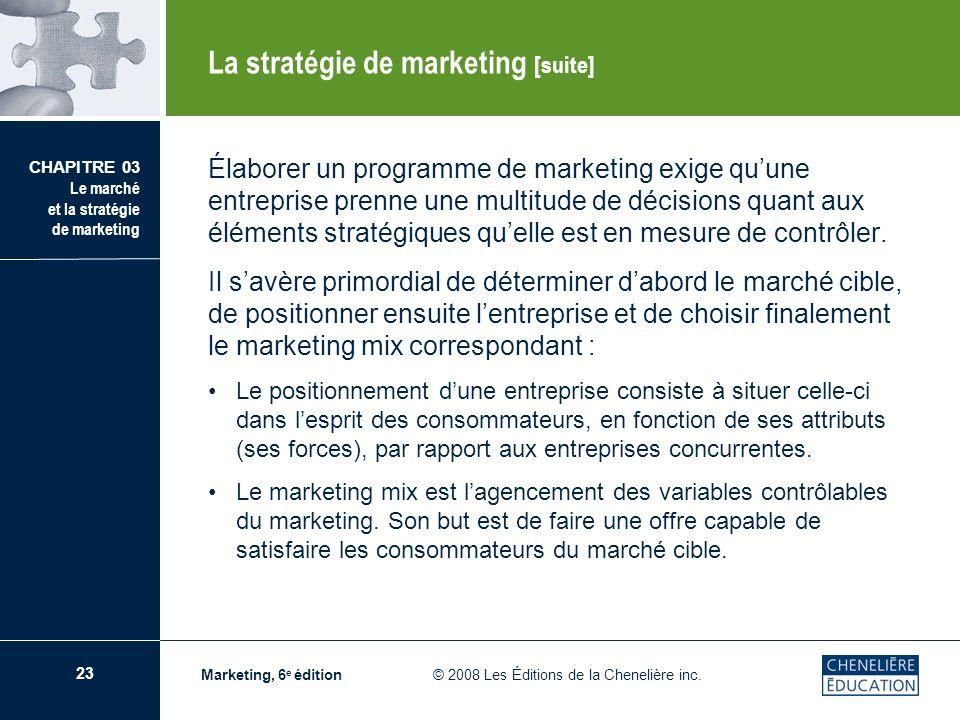 23 CHAPITRE 03 Le marché et la stratégie de marketing Marketing, 6 e édition © 2008 Les Éditions de la Chenelière inc. Élaborer un programme de market