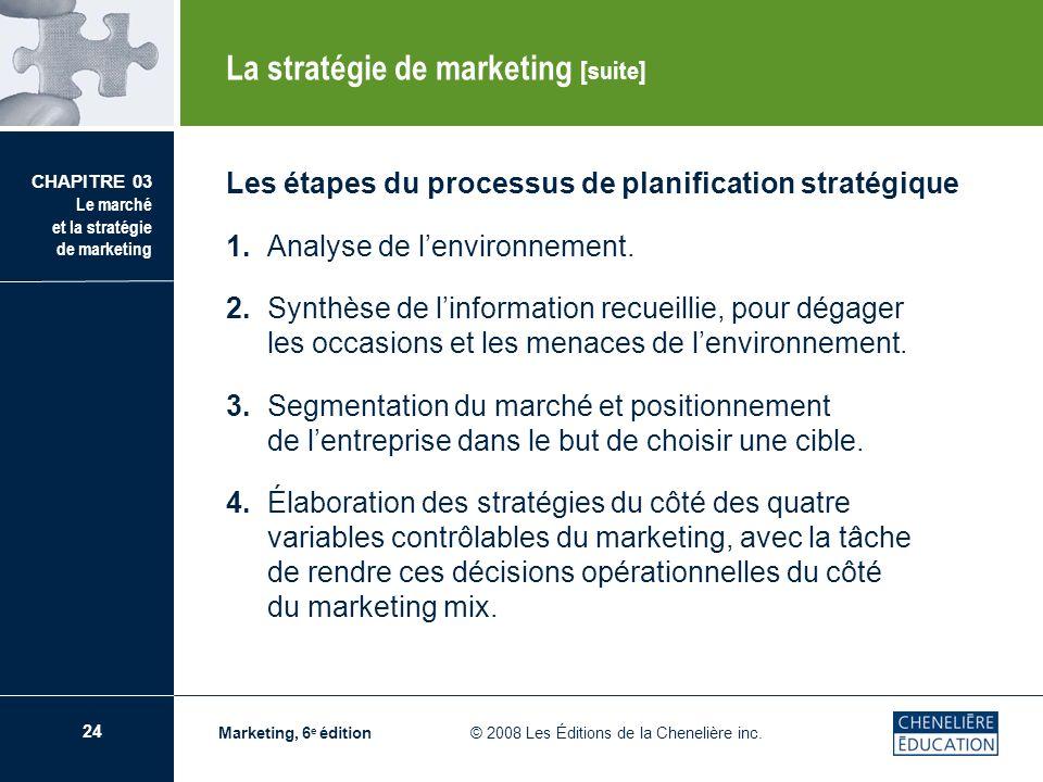 24 CHAPITRE 03 Le marché et la stratégie de marketing Marketing, 6 e édition © 2008 Les Éditions de la Chenelière inc. Les étapes du processus de plan