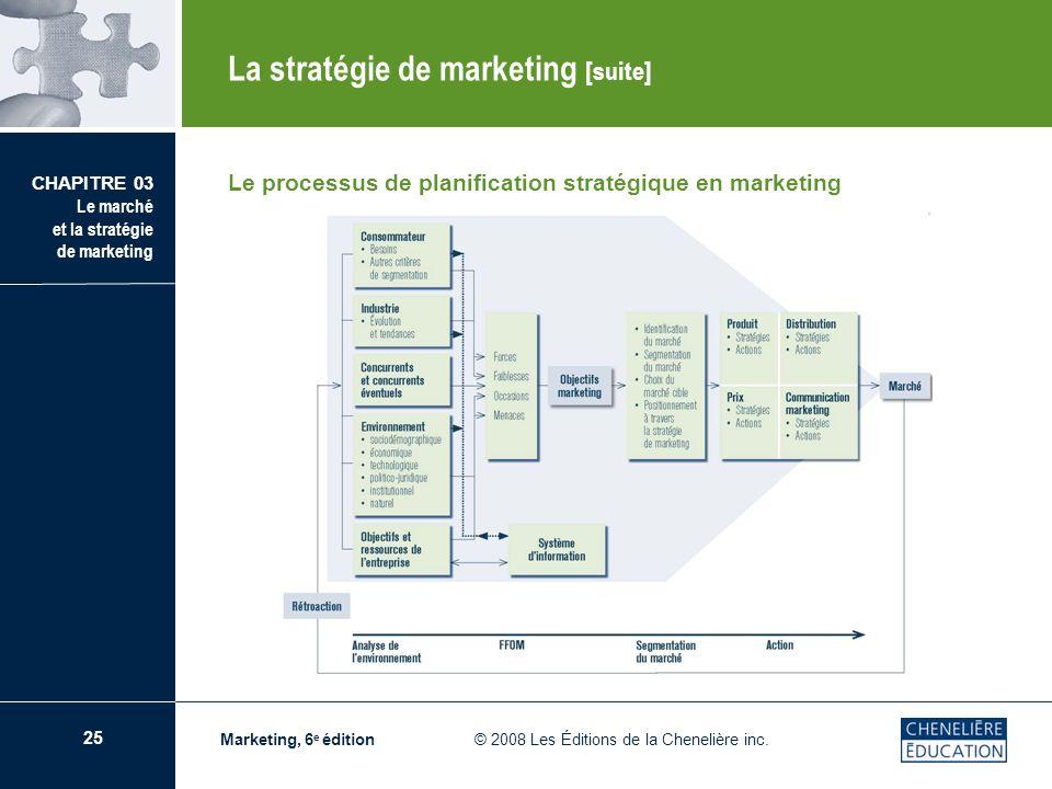 25 CHAPITRE 03 Le marché et la stratégie de marketing Marketing, 6 e édition © 2008 Les Éditions de la Chenelière inc. La stratégie de marketing [suit
