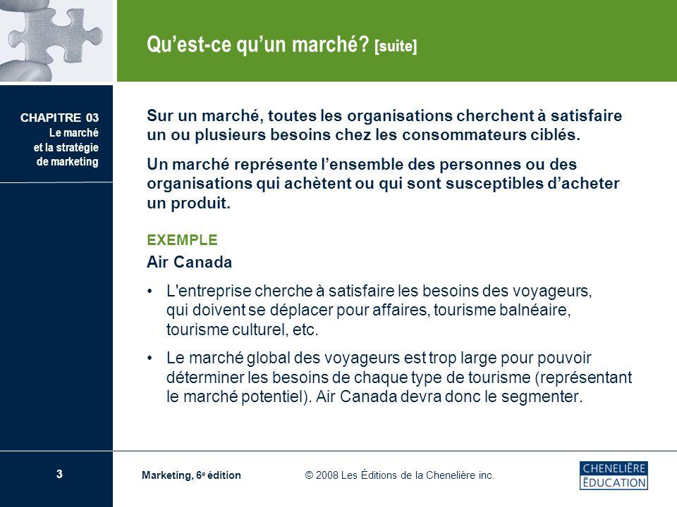 24 CHAPITRE 03 Le marché et la stratégie de marketing Marketing, 6 e édition © 2008 Les Éditions de la Chenelière inc.