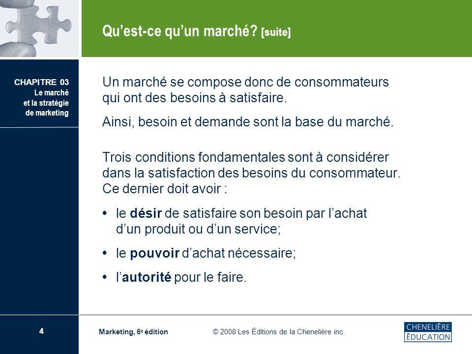 4 CHAPITRE 03 Le marché et la stratégie de marketing Marketing, 6 e édition © 2008 Les Éditions de la Chenelière inc. Un marché se compose donc de con