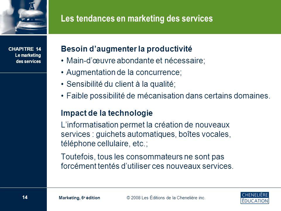 14 CHAPITRE 14 Le marketing des services Marketing, 6 e édition © 2008 Les Éditions de la Chenelière inc. Besoin daugmenter la productivité Main-dœuvr