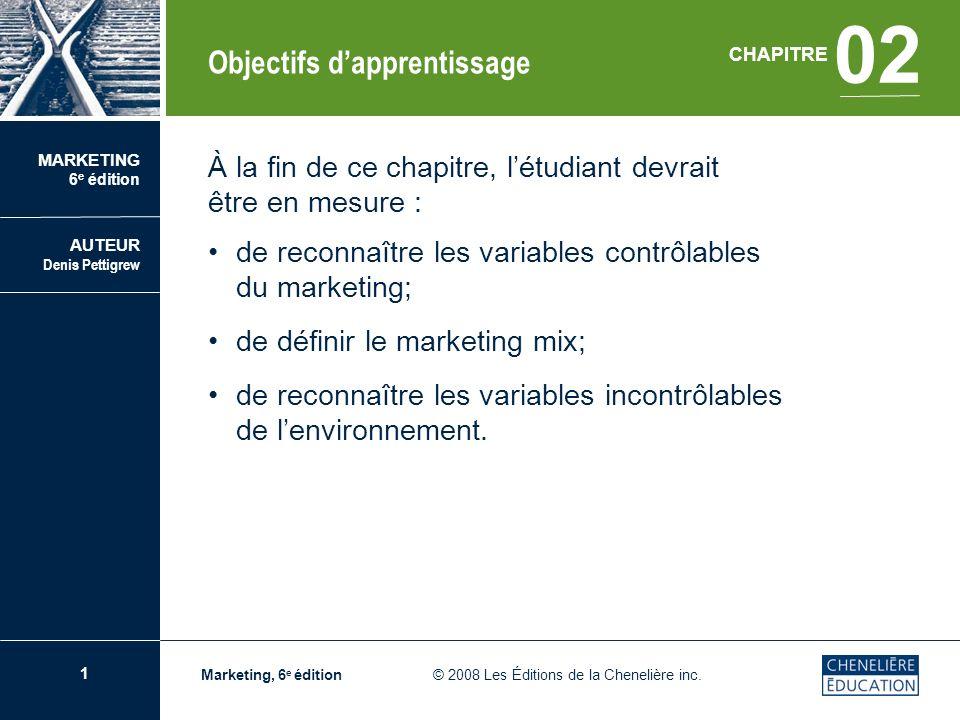 1 CHAPITRE 02 Les variables contrôlables et lenvironnement du marketing Marketing, 6 e édition © 2008 Les Éditions de la Chenelière inc. À la fin de c